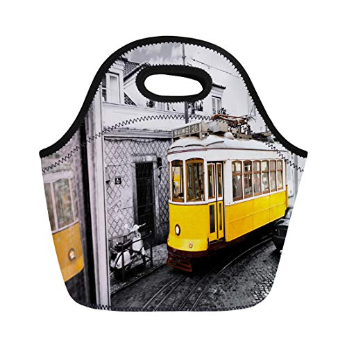 Semtomn Lunch Bags Historic Classic Yellow Tram of Lisbon Built Partially Wood Neoprene Lunch Bag Lunchbox Tote Bag Portable Picnic Bag Cooler ()