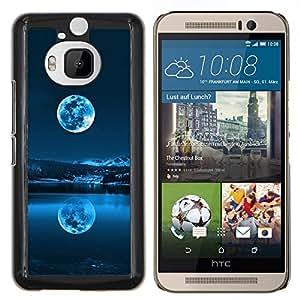 Qstar Arte & diseño plástico duro Fundas Cover Cubre Hard Case Cover para HTC One M9Plus M9+ M9 Plus (Azul de la Luna Llena)