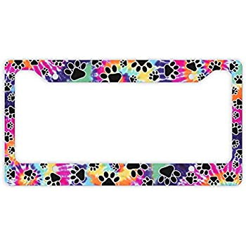 Amazon Decorative License Plate Frame Tie Dye Paw Print License