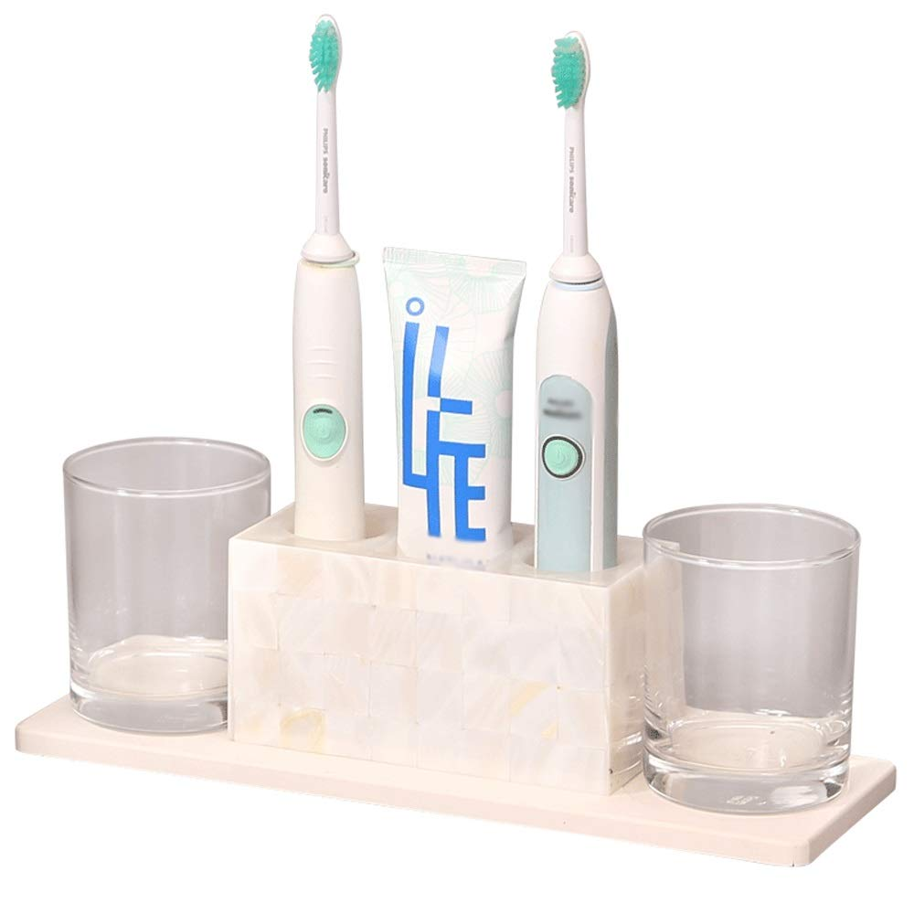 DDSS Bathroom accessories set Crystal Glass Bathroom Shell wash Set Four-Piece Toothbrush Rack Couple Toothbrush Cup /-/
