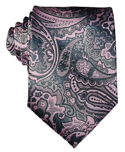 New Classic Paisley Floral Grey Pink JACQUARD WOVEN Silk Men's Tie Necktie
