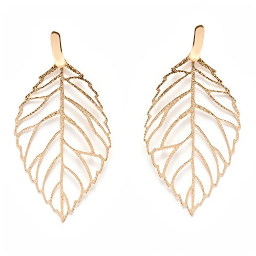 18K Gold Plated Gold Cut-Out Leaf Drop (Gold Leaf Earrings)