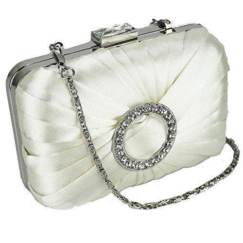 TrendStar Clutch - Bolso de mano para mujer, satén, diseño tipo clutch para fiesta o baile - marfil