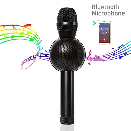 Keynice Bluetooth Microphone Karaoke Portable Wireless Handheld Karaoke Player Built in Speaker for Home KTV Singing Iphone/Android Smartphone - Black