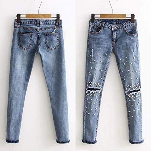... avec en Femmes Women Jeans Denim Couleur Pantalon Troué Poches Jeune  Unie De avec Stretch pour ... eca7991ebf31