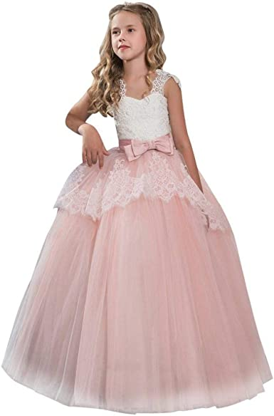Amazon Com Girls Princess Dress 7 11 Years Old Children Girls Kids Fashion Lace Bowknot Formal Gown Sleeveless Wedding Dress Clothing,How Much Do Gypsy Wedding Dresses Cost