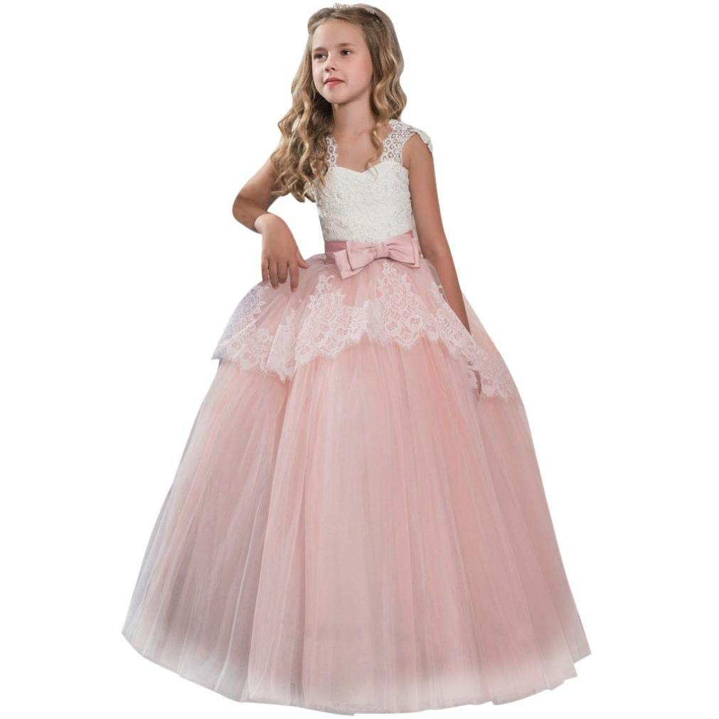 409b1eed1 Amazon.com: Moonker Girls Princess Dress 7-11 Years Old, Children Girls  Kids Fashion Lace Bowknot Formal Gown Sleeveless Wedding Dress: Clothing