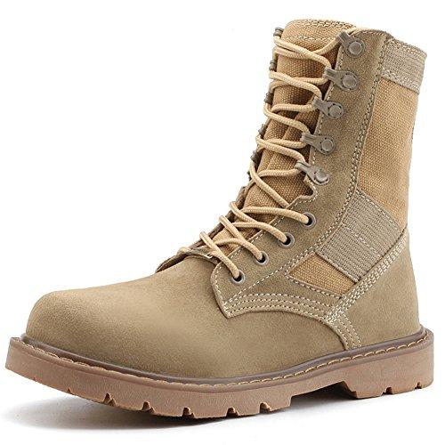 Jamron Men's Genuine Leather Desert Boots Jungle Boots Durable Outdoor Hiking Trekking Boots Combat Boots