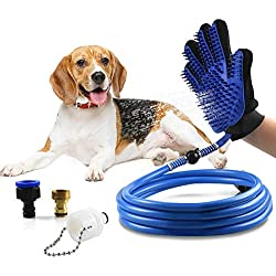 Deggy Pet Bathing Tool Dog Shower Sprayer Scrubber Grooming Glove with Faucet Adapters for Dog Cat Horse Indoor Outdoor Use