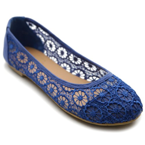 Breathable Ballet Blue Lace Royal Flat Women's Floral Shoe Ollio 1qOwxO