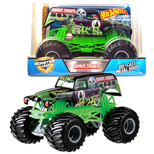 Hot Wheels Year 2017 Monster Jam 1:24 Scale Die Cast Metal Body Official Truck - Grave Digger CCB06-0932 with Monster Tires, Working Suspension and 4 Wheel -