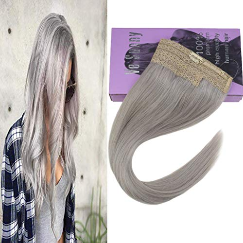 VeSunny Silver Halo Hair Extensions Double Weft Remy Human Hair 20inch 100G Thick Halo Remy Grey Hair Extensions Invisible Hairpiece