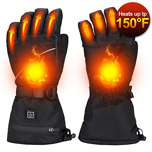 Alritz Heated Gloves for Men Women, 7.4V 2500mAh Rechargeable Battery Heated Winter Gloves Waterproof Skiing Gloves for Motorcycle, Hiking, Huting, Outdoor Work, Large Size