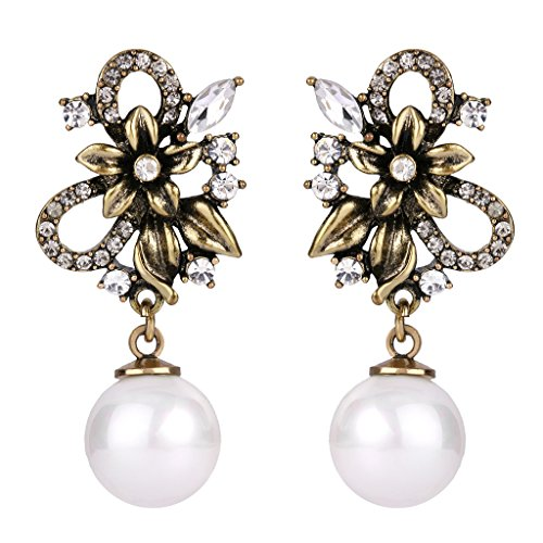 BriLove Women's Victorian Style Crystal White Simulated Pearl Flower Leaf Hollow Dangle Earrings Clear Antique-Gold-Tone ()