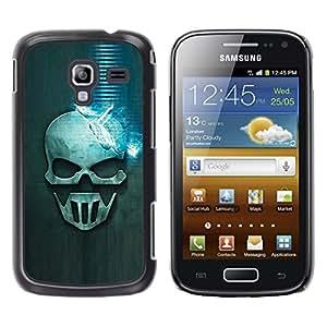 rígido protector delgado Shell Prima Delgada Casa Carcasa Funda Case Bandera Cover Armor para Samsung Galaxy Ace 2 I8160 Ace II X S7560M /Blue Skull/ STRONG
