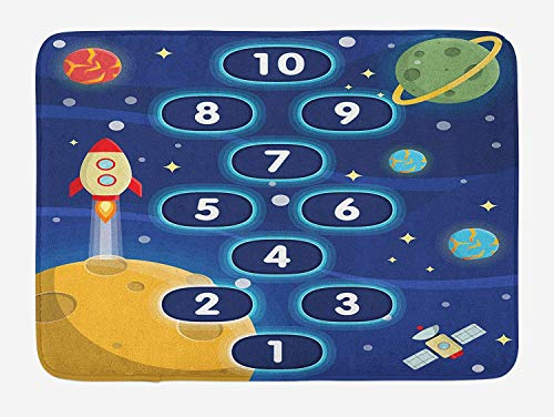 lsrIYzy Kid's Activity Bath Mat, Children Activity Hopscotch Game in Space Science Fiction Themed Cartoon, Plush Bathroom Decor Mat with Non Slip Backing, 23.6 x 15.7 Inches, Multicolor