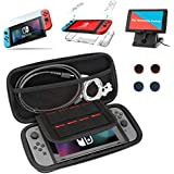 DIYxin 9 in 1 Nintendo Switch Accessories, for Nintendo Switch Carrying Case, Clear Case, Foldable Stand, 9H Screen Protector, Joy-Con Thumb Grip Caps(4 packs)