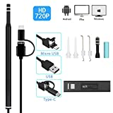 WiFi Ear Cleaning Endoscope,720P HD Wireless,3 in 1 USB Microscopes Ear Cleaning Endoscope 6 LED Earwax Removal iOS Android Smartphone