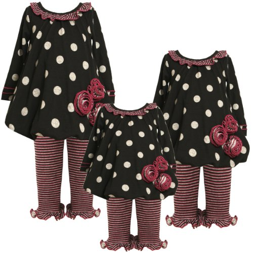 Bonnie Jean Baby/NEWBORN 3M-9M 2-Piece BLACK GRAY DOTS and STRIPES TRIPLE ROSETTE FUZZY KNIT BUBBLE HEM Dress/Legging Outfit Set