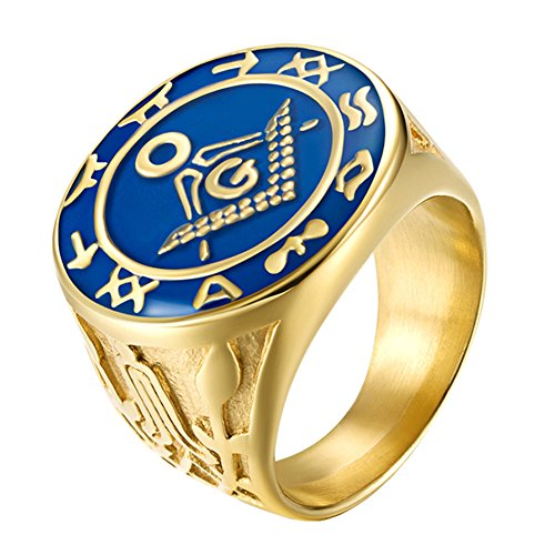 Blue Enamel Masonic Ring - UNAPHYO Men's Stainles Steel Gold Plated Masonic Freemason Symbol Ring with Blue Lodge Size 12