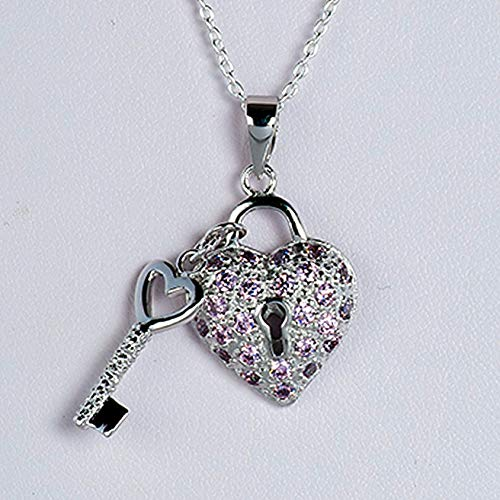 Sterling Silver Pink CZ Heart & Key Pendant Fancy Italian Charm Solid 925 Vintage Crafting Pendant Jewelry Making Supplies - DIY for Necklace Bracelet Accessories by CharmingSS