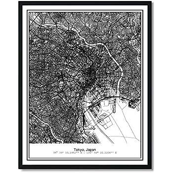 Susie Arts 11X14 Unframed Tokyo Japan Metropolitan City View Abstract Street Map Art Print Poster Wall Decor V237