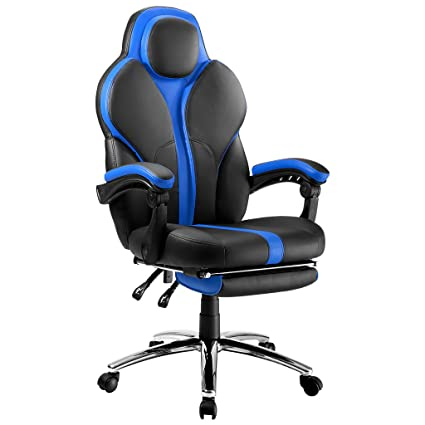 LANGRIA Blue Gaming Chair Office Chair E-Sports Chair Ergonomic High-Back Faux Leather