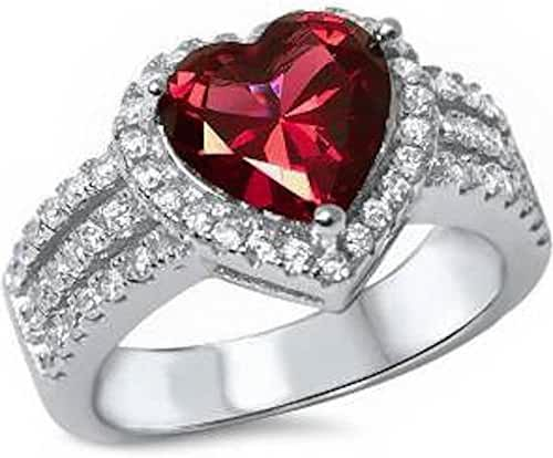 3ct Heart Shape Simulated Ruby & Cz .925 Sterling Silver Ring Sizes 5-10