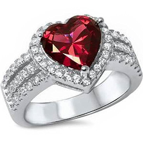 3ct Heart Shape Simulated Ruby & Cz .925 Sterling Silver Ring Size 7 by Oxford Diamond Co