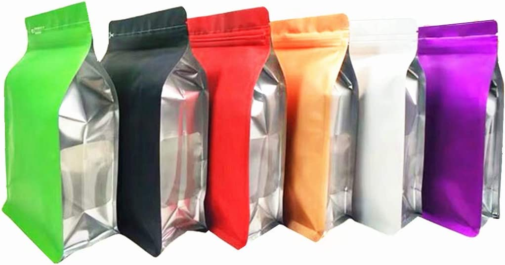 Resealable Bags Mylar eco Food Save Zipper Colored Heavy Duty Baggies Cute |Flat Bottom Stand up Zip Reusable Bag for Tshirts Jerky | Gold Green Coffee Bags Valve Vented(30pcs 6.3 * 9.5+2.8inch)