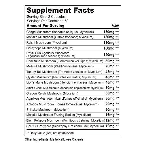 Mushroom Supplement Complex for Humans Immune System Defense Support with Lion's Mane Pills, Cordyceps, Reishi – 120 Vegan Capsules Mushroom Capsules for Men and Women