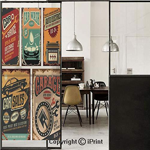 Vintage Decor 3D Decorative Film Privacy Window Film No Glue,Frosted Film Decorative,Nostalgic Art Auto Service Garage Funk Style Highway Logo Repair Road Grunge Decor,for Home&Office,17.7x59Inch ()