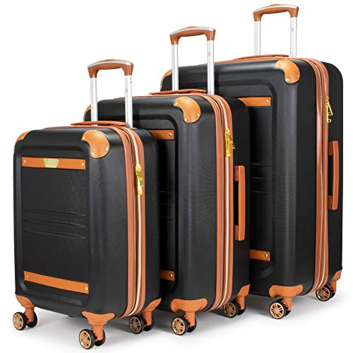 19V69 Italia Vintage Expandable Hard Spinner Luggage 3 Piece Set (Grigio Gray) (Nero Black)