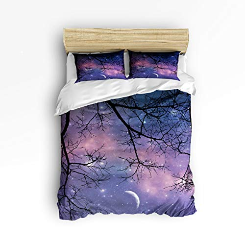 3 Piece Polyester Fabric Bedding Set with Zipper Closure King Size, Night Starry Sky Branch Moon Comforter Cover Set Duvet Cover with 2 Pillow Shams for Girls/Boys/Kids/Children/Teen/Adults