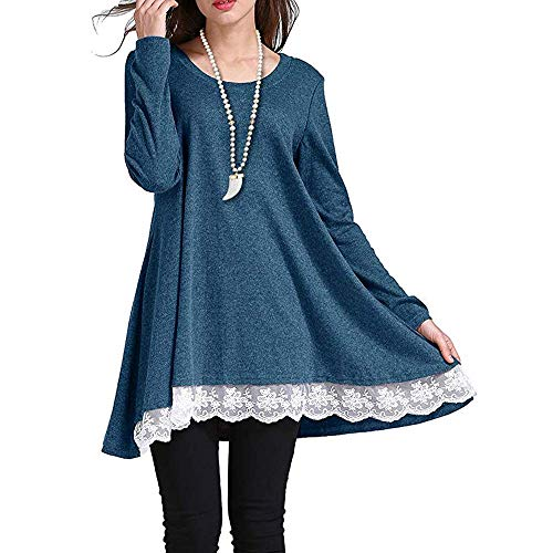 VAYAGER Women Fall Lace Tops Long Sleeve Casual Loose Scoop Neck A-Line Tunic Blouse(Blue,S)