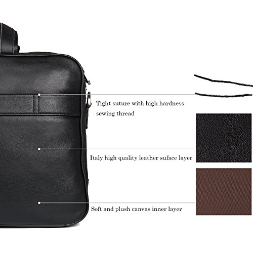 Augus Business Travel Brifecase Genuine Leather Duffel Bags for Men Laptop Bag fits 17 inches Laptop by Augus (Image #6)