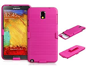2pc Set Protective Plastic Case with Clip for Samsung Galaxy Note 3/N9000/N9005 (Rose Red)