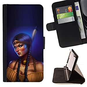 Indian Woman Feather Long Braid Boobs - Painting Art Smile Face Style Design PU Leather Flip Stand Case Cover FOR Samsung Galaxy Note 3 III @ The Smurfs
