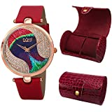 Burgi Women's BUR131RD Peacock Feather Swarovski Crystal Dial Rose Gold Red Satin Leather Swiss Quartz Strap Watch with Leatherette 2 Slot Watch Case