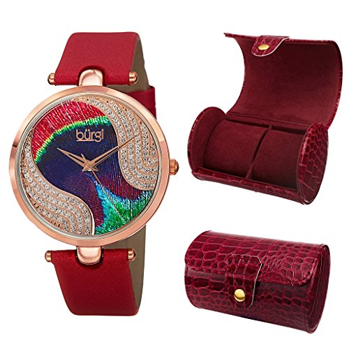 RD Peacock Feather Swarovski Crystal Dial Rose Gold Red Satin Leather Swiss Quartz Strap Watch with Leatherette 2 Slot Watch Case ()