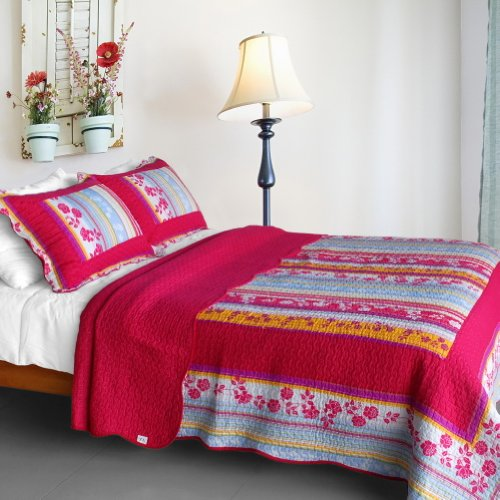 ([Blooming Garden] Cotton 3PC Vermicelli-Quilted Printed Quilt Set (Full/Queen Size))