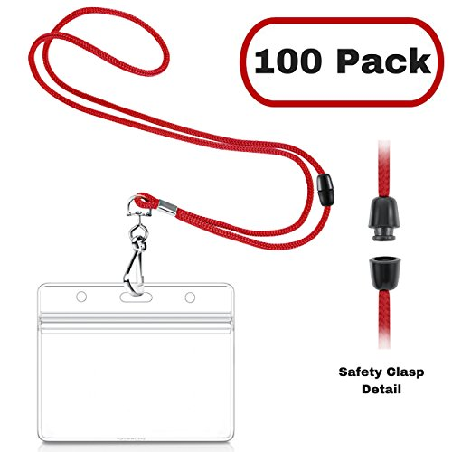 MIFFLIN Safety Lanyards with Horizontal ID Badge Holders (100 Pack, Liberty Red), Clear Plastic Pouch with Soft, Breakaway - Id Safety Tag