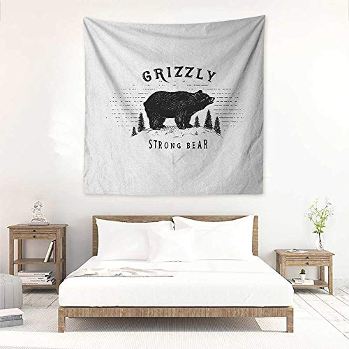 Bear Decorative Tapestry Strong Grizzly Bear in The Forest Vintage Grunge Look Life in The Mountains Theme Literary Small Fresh 70W x 70L INCH Black ()