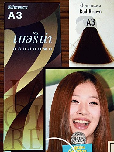 Pack of 1 Box Berina Red Brown Hair Dye A3 Hair Color Cream Dye Red Brown 60 G. Super Permanent Fashion Unisex