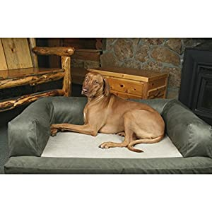85%OFF Large Green Plush Solid Pattern Dog Bed, Beautiful Modern Orthopedic Comfort Design Pet Lounge, Features Super Soft & Snuggly, Stain Resistant, Hypo-Loft Fiber Filling, Fleece, Suede