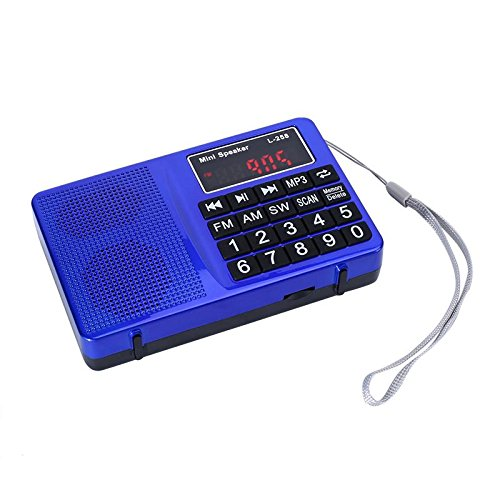 LCJ Portable FM AM Shortwave Digital Mini Radio and Pocket USB Mp3 Music Stereo Player Speaker with Rechargeable Battery