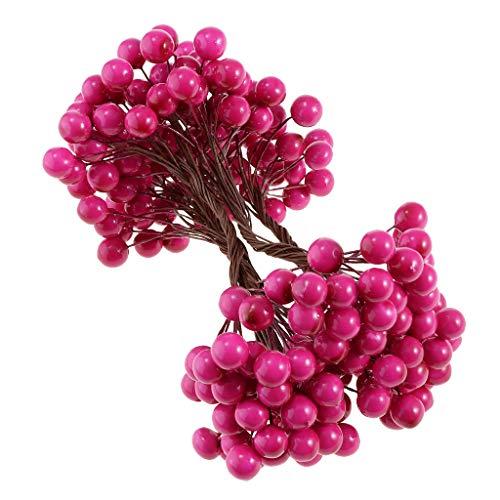 Fenteer Planta Artificial Flor Fruta Baya Ramo Decoración Del Hogar - rojo 2, 130 mm