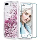 Maxdara iPhone 8 Plus Case, iPhone 7 Plus Glitter Liquid Women Case [Tempered