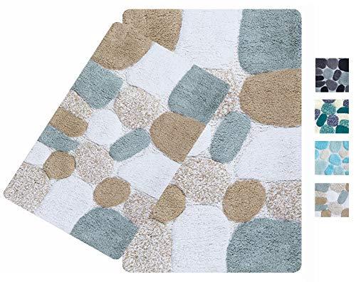 2-Piece Pebbles Cotton Bath Rug Set – 100% Pure Cotton Bath Mat Rug – 21×32/17×24 – Soft Absorbent Machine Washable…