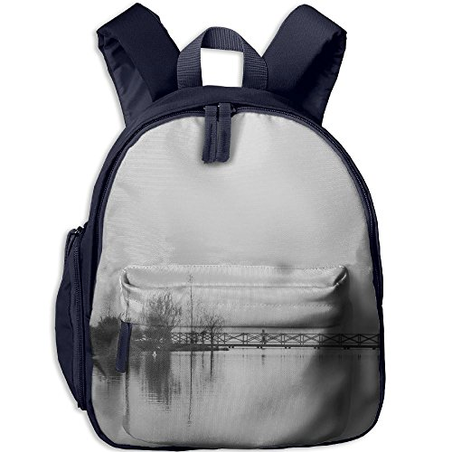 Toddler School Bag Chinese Style Ink Painting Scenery Monochrome Trees Guangzhou Shoulder Bag Navy by ErLiu Ss